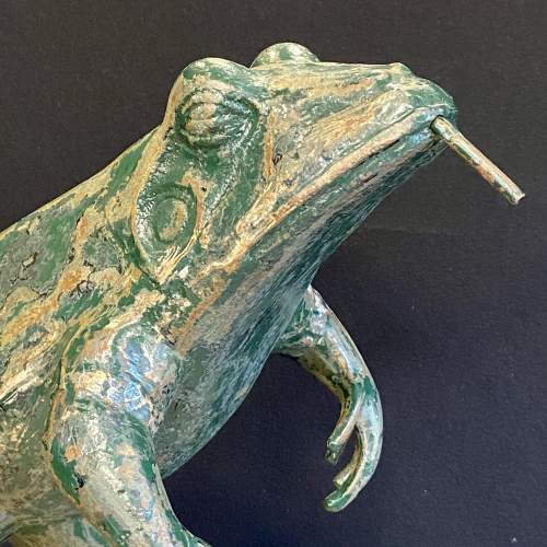 1930s Cast Iron Leaping Frog Statue or Fountain image-3