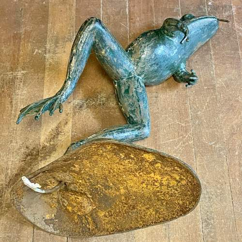 1930s Cast Iron Leaping Frog Statue or Fountain image-6