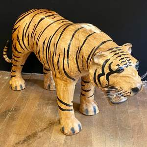 Mid Century Large Hand Painted Leather Tiger