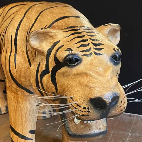 Mid Century Large Hand Painted Leather Tiger image-2