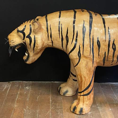 Mid Century Large Hand Painted Leather Tiger image-3