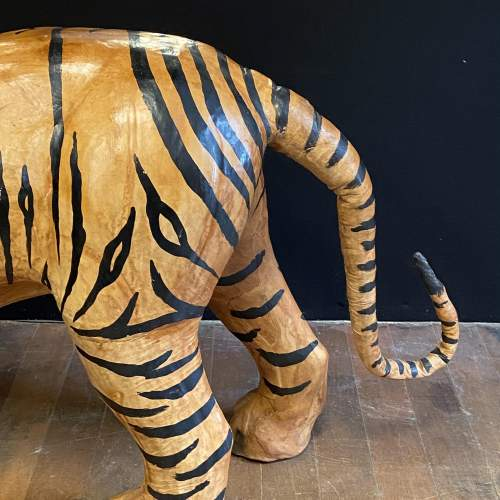 Mid Century Large Hand Painted Leather Tiger image-6