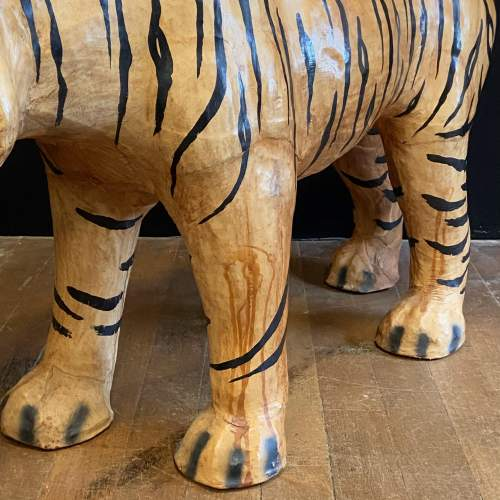 Mid Century Large Hand Painted Leather Tiger image-4