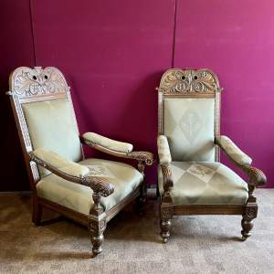 Pair of Victorian Carved Oak Scottish Marriage Chairs