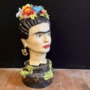 Studio Pottery Bust of Frida Kahlo by Lesley Moss