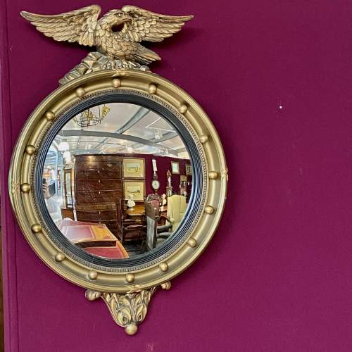 Regency style Gilt Framed Convex Wall Mirror image-1