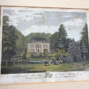 18th Century J Throsby Coloured Engraving of Westcotes Hall