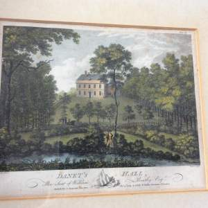 18th Century J Throsby Coloured Engraving of Danets Hall
