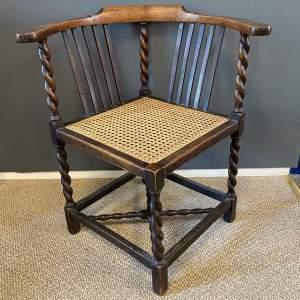 Barleytwist Oak Corner Chair