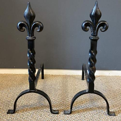 Pair of Wrought Iron Fire Dogs image-1