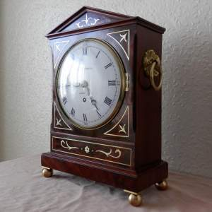 English Mahogany Brass Inlaid Bracket Clock