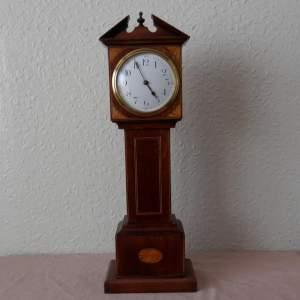 Miniature Grandfather Clock in Inlaid Mahogany Case