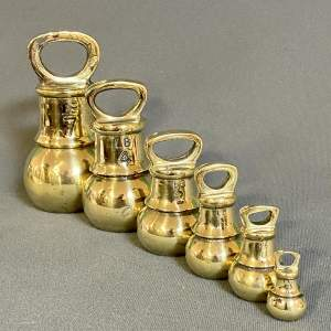 Set of Six Vintage Brass Bell Weights
