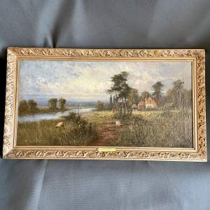 Early 20th Century Oil on Canvas of a Rustic Idyll