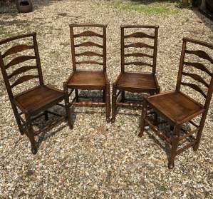 Set of Four Ash and Elm Ladder Back Chairs With Pad Feet Circa 1800-1850