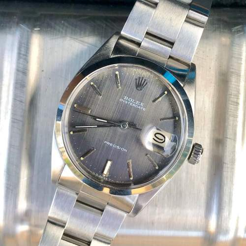 Vintage Gents 1970 Rolex Oyster Date Precision 6694 Grey Dial image-2