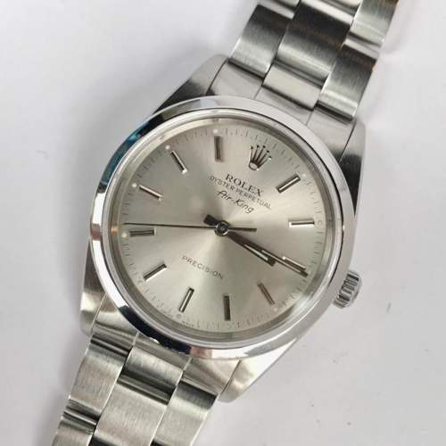 Vintage Gents 1990 Rolex Air King 14000 Silver Dial with Box image-1