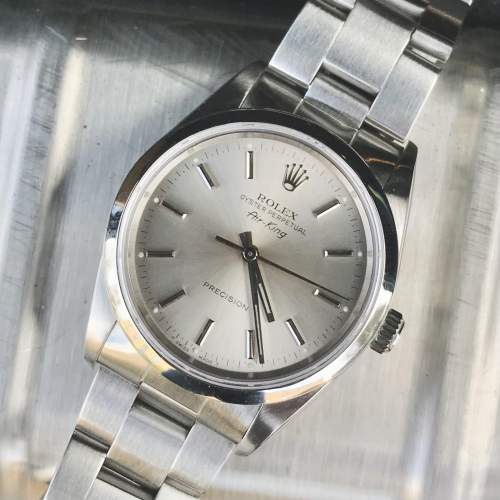 Vintage Gents 1990 Rolex Air King 14000 Silver Dial with Box image-2