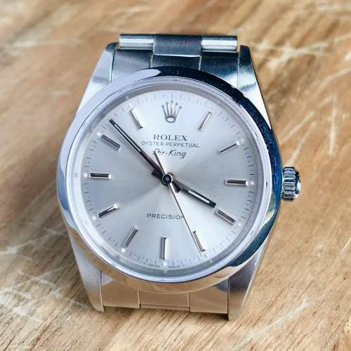 Vintage Gents 1990 Rolex Air King 14000 Silver Dial with Box image-6