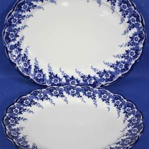 Two 19th Century Staffordshire Matlock Blue and White Oval Platters