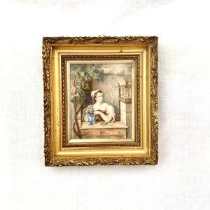 19th Century Painting of Lady At An Open Window