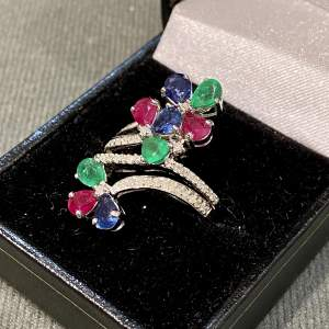 Vintage 18ct Gold Diamond Ruby Sapphire and Emerald Ring