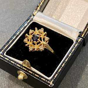 Vintage 18ct Gold Diamond and Sapphire Ring