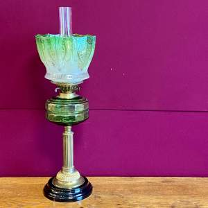 19th Century Brass and Glass Oil Lamp