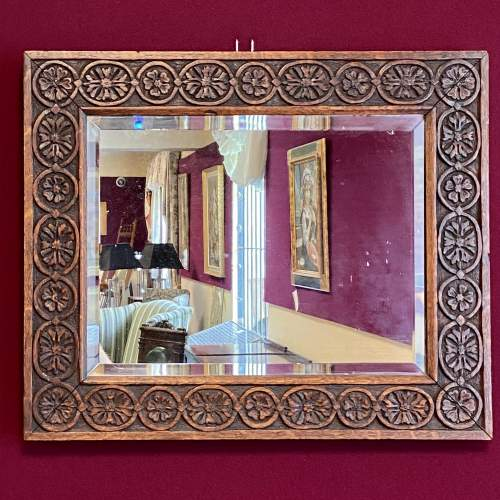 Arts and Crafts Carved Wall Mirror image-1