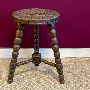 Late 19th Century Oak Carved Stool
