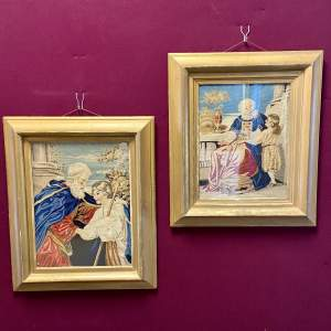 Pair of Victorian Woolwork Pictures in Gilt Frames