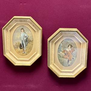 Pair of Small Framed Portraits of Famous Paintings of Boys