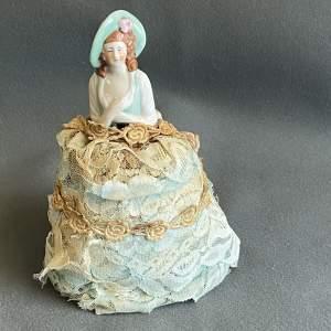 Vintage Porcelain Lady Figure Pin Cushion