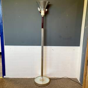 Art Deco Glass Rod and Chrome Uplighter Lamp