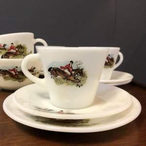 Retro Hunting Scene White Glass Tea Set