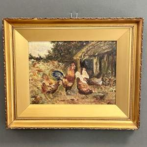 Early 20th Century Oil on Board Painting of Chickens in a Farm Yard