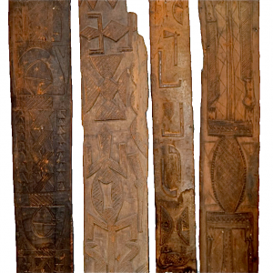 Four Antique African Tribal Yoruba Wood Relief Panels