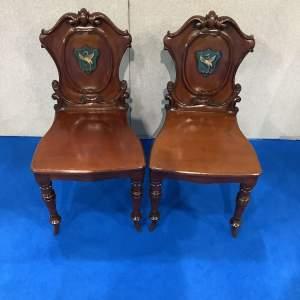 Pair of Mahogany Victorian Hall Chairs