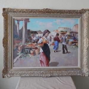 Oil Painting of Italian Market