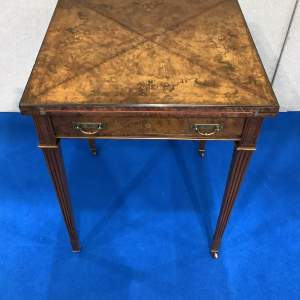 Edwardian Burr Walnut Inlaid Envelope Card Table by Maple and Co