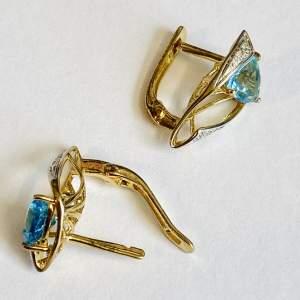 Pair of Silver Gilt Diamond Topaz Earrings