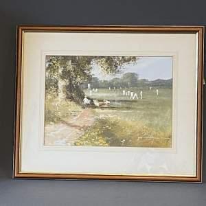 20th Century John Horsewell Cricket Scene Watercolour