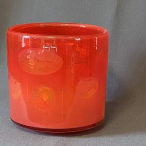 Roses in Red Water Signed Glass Vase by Henry Dean