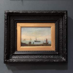 Victorian Oil on Canvas Shoreline with Boats