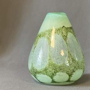 German Art Glass Green Bubbled Vase