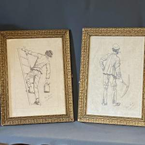 Pair of Early 20th Century French Pencil Drawings of Workers