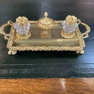 Ormolu Gilt Victorian Inkwell and Pen Stand