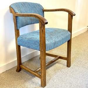 Vintage Oak Framed Upholstered Chair