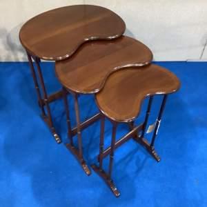 Mahogany Inlaid Kidney Shape Nest of Tables