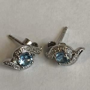 Silver Diamond and Topaz Earrings